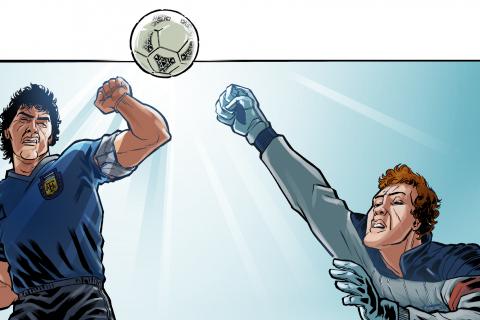 Desenho de Maradona saltado com o punho cerrado em direção a uma bola que vem de cima. O goleiro salta na mesma direção, com o punho também cerrado.